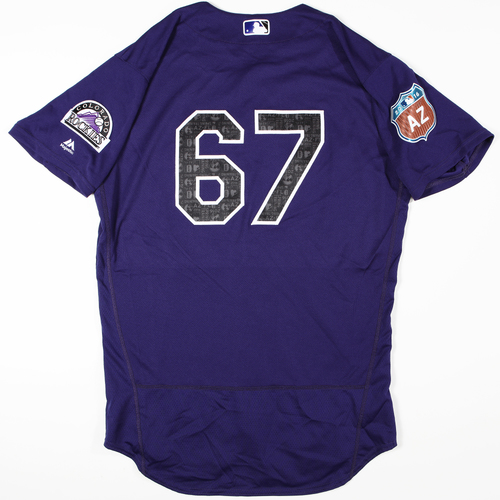 Photo of 2016 Spring Training - Spring Training Game Used Jersey - David Dahi (Rockies)- Size- 44