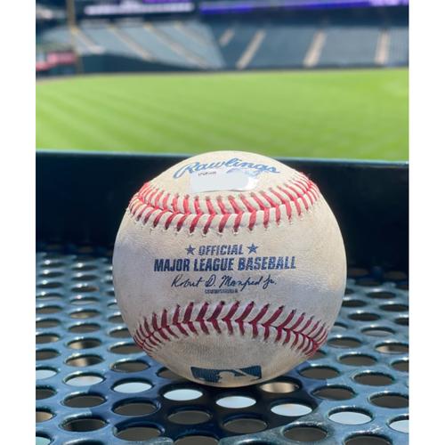 Photo of Game-Used Baseball: 6 Batters - P: James Kaprielian, B: Charlie Blackmon (Single), B: Ryan McMahon (Single), B: Joshua Fuentes (Walk), B: C.J. Cron (Strikeout), B: Brendan Rodgers (Sac Fly), B: Dom Nunez (Walk) - 6/6/2021