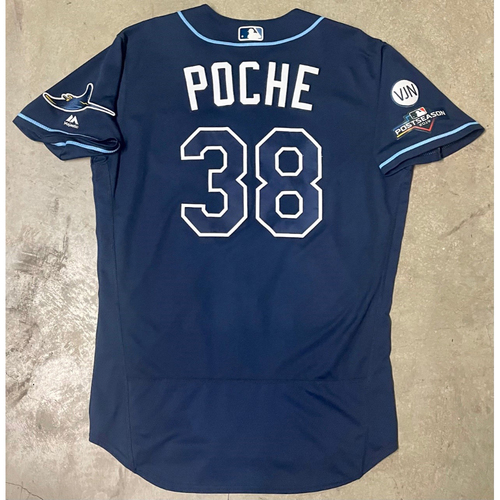 Photo of Game Used ALWC and ALDS Game #1, #5 Navy Jersey: Colin Poche - October 2, 2019 at OAK and October 4, 10, 2019 at HOU