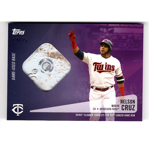 Photo of Nelson Cruz #23 - Limited Edition of 25 Purple Topps Card - Features Authenticated Game Used Base from 400th Career Homerun - Cruz Hits 40th Season Homerun and 400th Career HR on 9/22/19