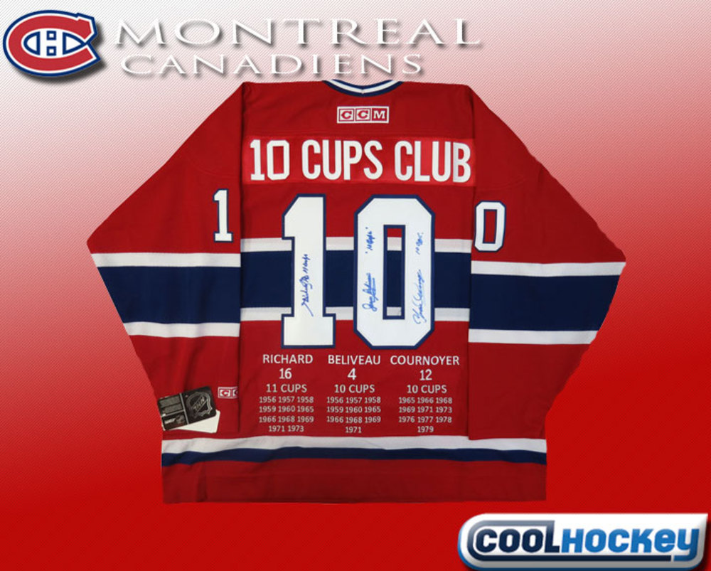 Jean Beliveau, Henri Richard & Yvan Cournoyer TRIPLE Autographed Montreal Canadiens 10 CUPS CLUB Limited Custom Red Jersey
