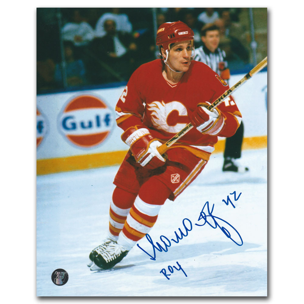 Sergei Makarov Autographed Calgary Flames 8X10 Photo w/ROY Inscription