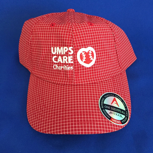 UMPS CARE AUCTION: Red and White Adjustable UMPS CARE Hat by Antigua