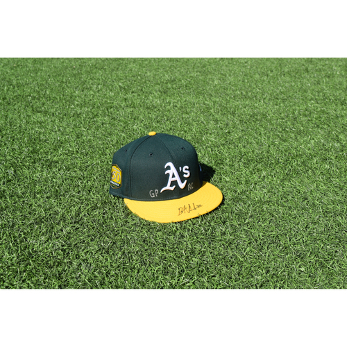 Photo of Oakland Athletics Game Used Autographed Brett Anderson 50th Anniversary Cap