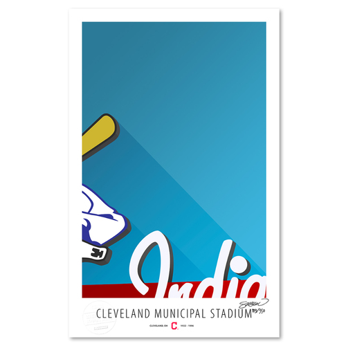 Photo of Municipal Stadium - Collector's Edition Minimalist Art Print by S. Preston #119/350  - Cleveland Indians