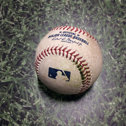 Photo of Game-Used Baseball CHC@MIL 04/07/19 - Kyle Hendricks - Orlando Arcia: Single