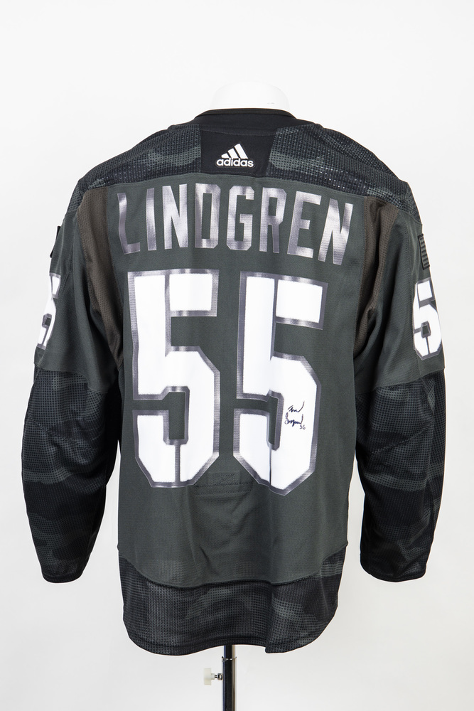 Veterans Night warm up jersey worn and signed by #55 Ryan Lindgren