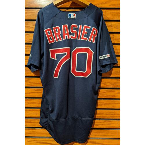 Ryan Brasier #70 Game Used Navy Road Alternate Jersey