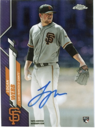 Photo of 2020 Topps Chrome Rookie Autographs Purple Refractors #RALW Logan Webb 096/250