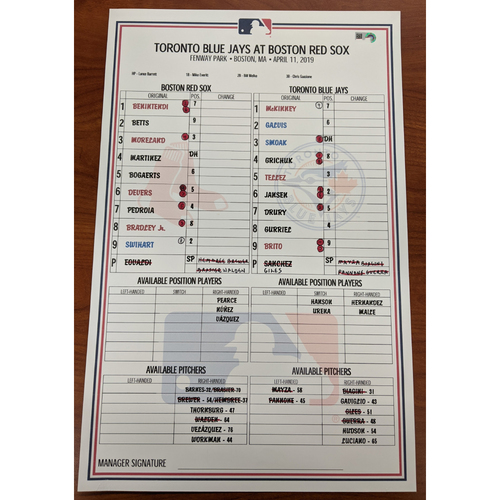 Photo of Red Sox vs. Blue Jays April 11, 2019 Game Used Lineup Card - Red Sox Win 7 to 6