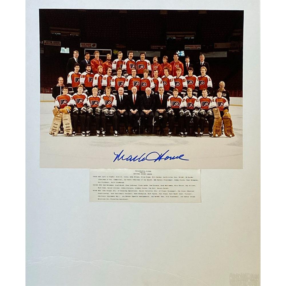 Mark Howe Autographed 1982-83 Philadelphia Flyers Matted 11X14 Team Photo