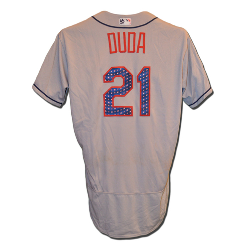 Photo of Lucas Duda #21 - Game Used Road Grey 4th of July Jersey - Duda Goes 1-4 - Mets vs. Nationals - 7/4/17