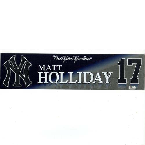 Photo of Matt Holliday New York Yankees 2017 Game-Used #17 Locker Room Nameplate (9/27/2017)