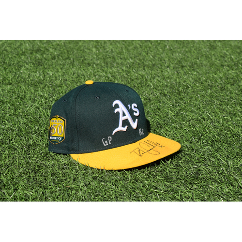 Photo of Oakland Athletics Game Used Autographed Danny Coulombe 50th Anniversary Cap