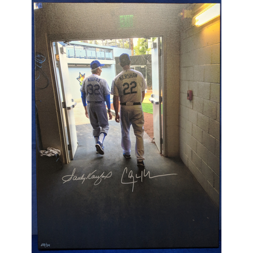 Photo of Kershaw's Challenge: Sandy Koufax and Clayton Kershaw Autographed Photo Canvas