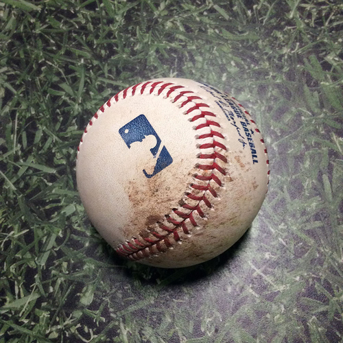 Photo of Game-Used Baseball LAD@MIL 04/19/19 - Ross Stripling - Orlando Arcia: Foul