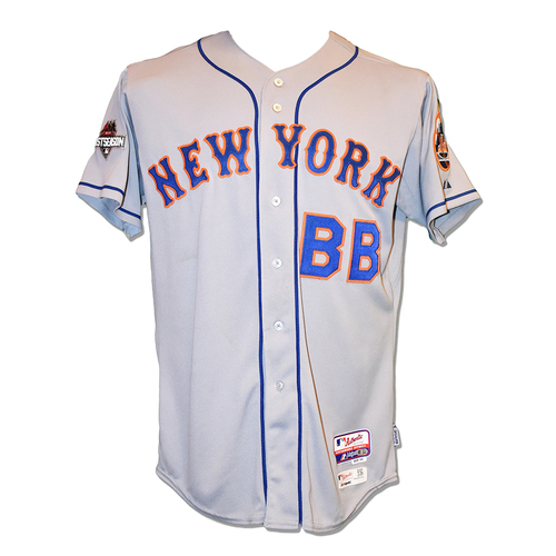 Photo of Bat Boy - Game Used Road Grey Jersey - NLCS Game 4 - Mets vs. Cubs - 10/21/2015