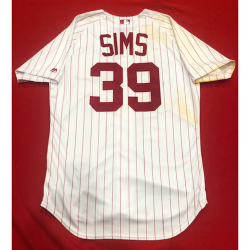 Photo of Lucas Sims -- 1967 Throwback Jersey & Pants (Relief Pitcher: W-2, 1.1 IP, 0 R, 2 K) -- Game-Used for Rockies vs. Reds on July 28, 2019 -- Jersey Size: 46 / Pants Size: 35-42-18