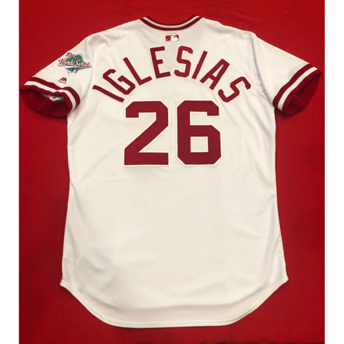 Photo of Raisel Iglesias -- Game-Used 1990 Throwback Jersey -- Cardinals vs. Reds on Aug. 18, 2019 -- Jersey Size 46