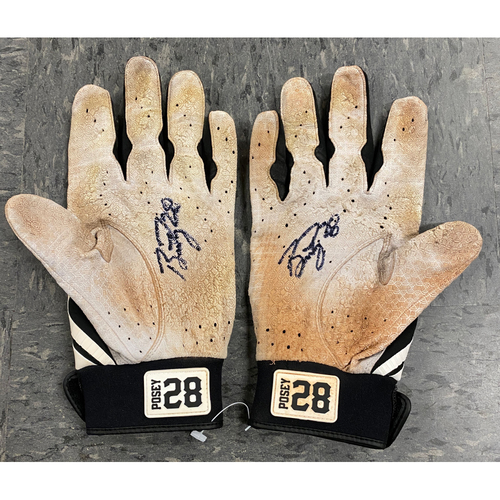 Photo of 2019 Holiday Sale - 2019 Autographed Batting Gloves signed by #28 Buster Posey - White & Black Marucci Batting Gloves