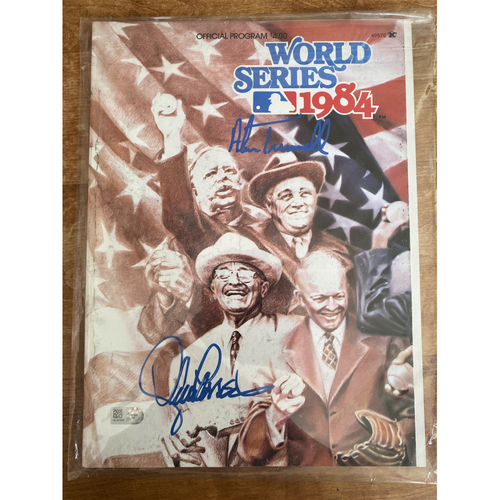 Photo of 1984 World Series Official Program Autographed by Alan Trammell and Lance Parrish (MLB AUTHENTICATED)