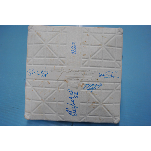 Photo of Game-Used and Autographed Base - Atlanta Braves vs. New York Mets - 7/27/20 - Mets Home Opener - Robinson Cano, Pete Alonso, Michael Conforto, Marcus Stroman, Yoenis Cespedes - 3rd Base, 4-6 Innings