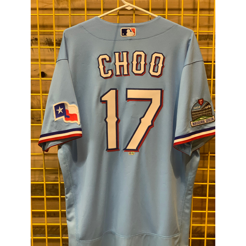 Photo of Shin-Soo Choo Team-Issued Baby Blue Jersey