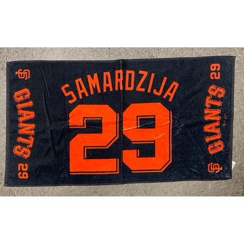 "Photo of 2020 Team Issued Player Towel - #29 Jeff Samardzija - Towel Measurements - 40""x20"""