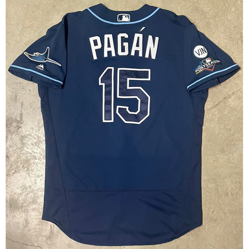 Photo of Game Used ALWC and ALDS Game #1, #2, #5 Navy Jersey: Emilio Pagan - October 2, 2019 at OAK and October 4, 5, 10, 2019 at HOU