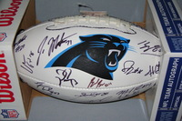PANTHERS - MULTI SIGNED PANEL BALL W/ PANTHERS LOGO (INCLUDING LUKE KUECHLY, THOMAS DAVIS, KELVIN BENJAMIN, CHARLES TILLMAN, MIKE TOLBERT, DEVIN FUNCHESS)  SMUDGES ON TWO SIGNATURES
