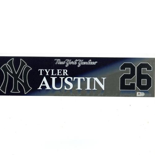 Photo of Tyler Austin New York Yankees 2017 Game-Used #26 Locker Room Nameplate (9/27/2017)