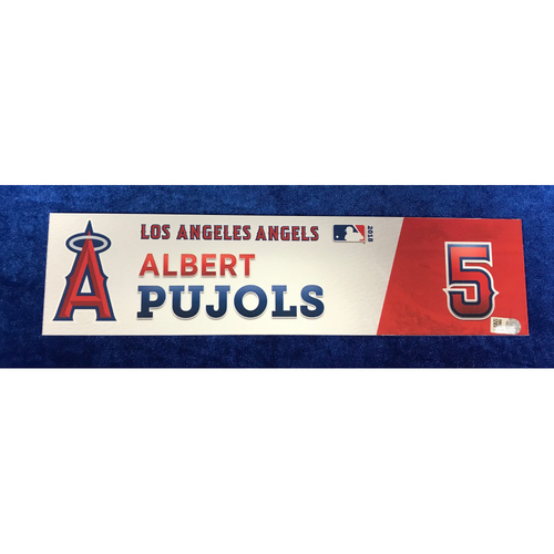 Photo of Albert Pujols Game-Used 2018 Locker Tag