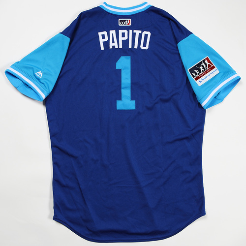 "Photo of Aledmys ""Papito"" Diaz Toronto Blue Jays Game-Used Jersey 2018 Players' Weekend Jersey"