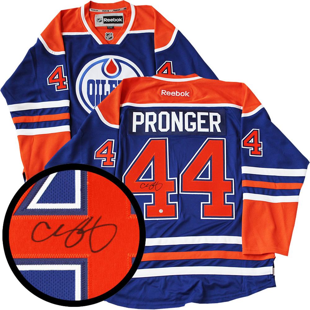 Chris Pronger Signed Jersey Oilers Replica Blue 2016-2017 Reebok ... 8b56a4ccf