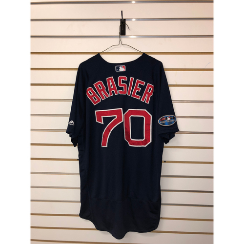 Photo of Ryan Brasier Game Used September 21, 2018 Road Alternate Jersey