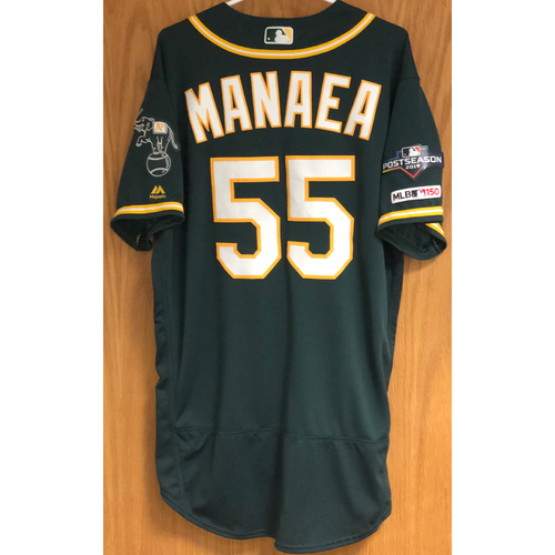 Photo of Game-Used Jersey w/ 2019 Postseason Patch - Sean Manaea: ND, K(5) - 9/1/19 & W(2), K(5) - 9/15/19