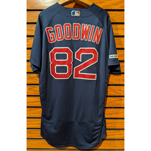 Photo of Coach Tom Goodwin #82 Game Used Road Alternate Navy Jersey