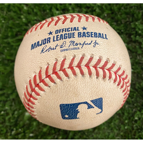 Photo of Alex Bohm Game Used Hit Single Baseball - August 23, 2020 - Top of 7th
