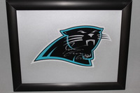 PANTHERS - JORDAN GROSS SIGNED PANTHERS DECAL WITHIN 8.5 X 11 PICTURE FRAME