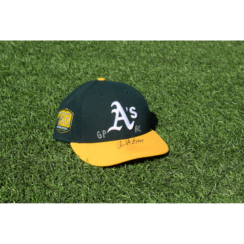 Photo of Oakland Athletics Game Used Autographed Chris Hatcher 50th Anniversary Cap