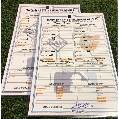 Photo of Double Header Game Used Lineup Card Package: Tampa Bay Rays vs Baltimore Orioles - May 12, 2018 Game #1 and #2