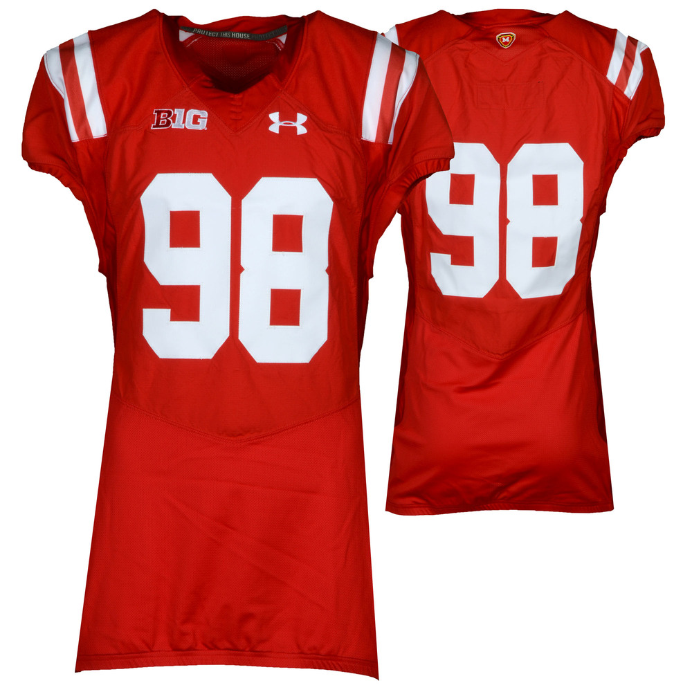 Maryland Terrapins Team-Issued #98 Red Throwback Jersey - Size 46