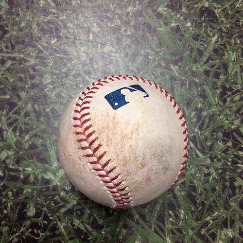 Photo of Game-Used Baseball LAD@MIL 04/21/19 - Brandon Woodruff - Corey Seager: Strikeout