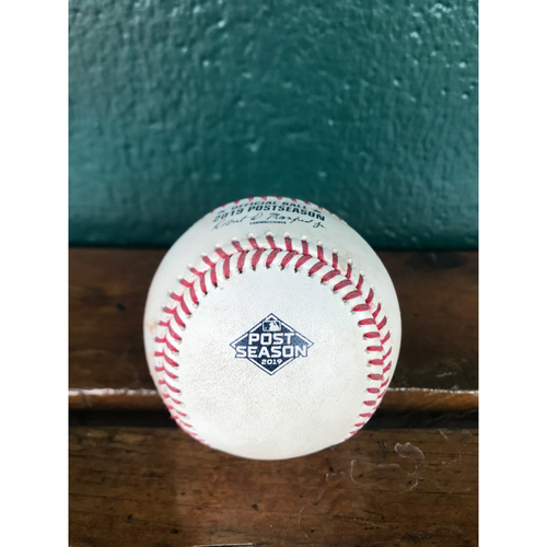 Photo of Cardinals Authentics: Game Used Pitched Postseason Baseball by Miles Mikolas to Howie Kendrick *Ground Out*