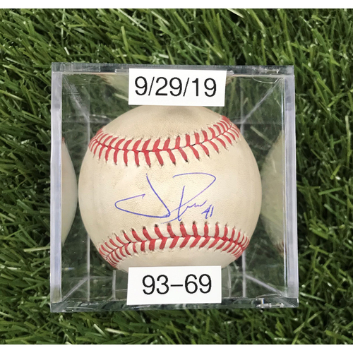 Win #93: 9/29/2019 Game-Used Baseball - Autographed by Joe Ross