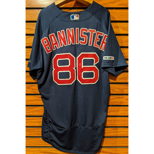 Photo of Brian Bannister #86 Team Issued Road Alternate Navy Jersey