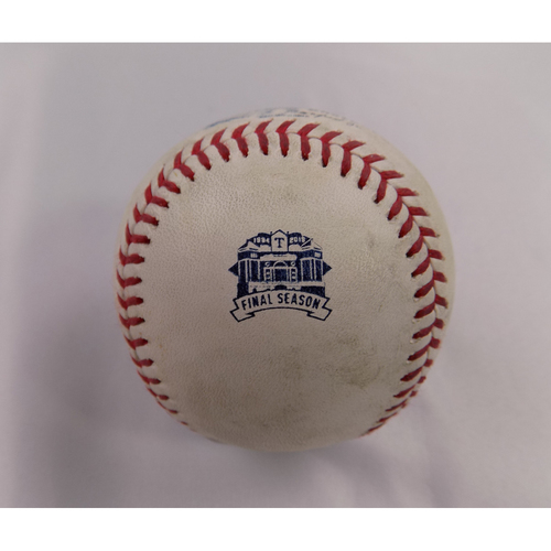 Photo of Game-Used Baseball - 9/26/2019 - BOS @ TEX - Final Home Stand at Globe Life Park - Marco Hernandez 1B