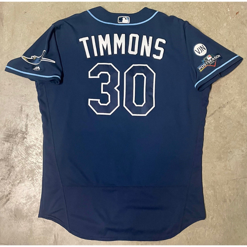 Photo of Game Used ALWC and ALDS Game #5 Navy Jersey: Ozzie Timmons - October 2, 2019 at OAK and October 10, 2019 at HOU