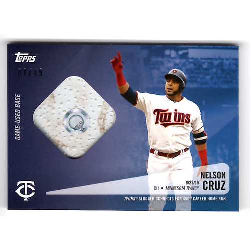 Photo of Nelson Cruz #23 - Limited Edition of 49 Blue Topps Card - Features Authenticated Game Used Base from 400th Career Homerun - Cruz Hits 40th Season Homerun and 400th Career HR on 9/22/19