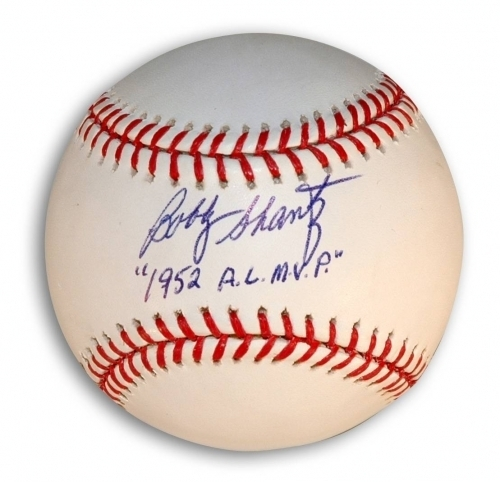 "Photo of Bobby Shantz ""1952 AL MVP"" Autographed Baseball"